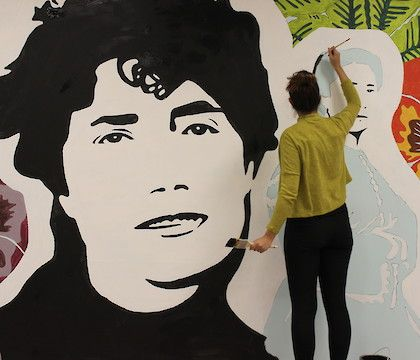 Opening of a mural about Rosalía de Castro