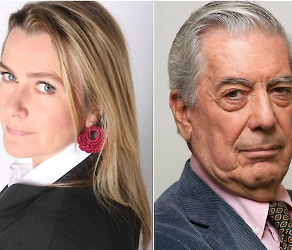 Almudena Solana and Mario Vargas Llosa at Chapman University's Literary Arts Reading Series